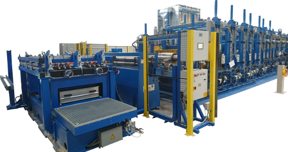 Strip edging machine for tube production